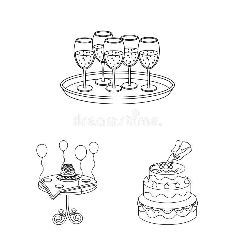 事件组织在集合汇集的概述象的设计 庆祝和属性传染媒介标志股票网 向量例证