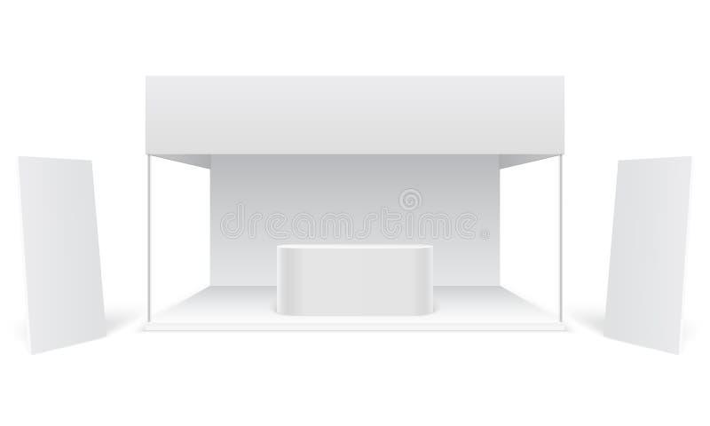 事件陈列贸易立场 白色增进广告的摊,站立的空白的显示横幅 销售的摊位3d 皇族释放例证