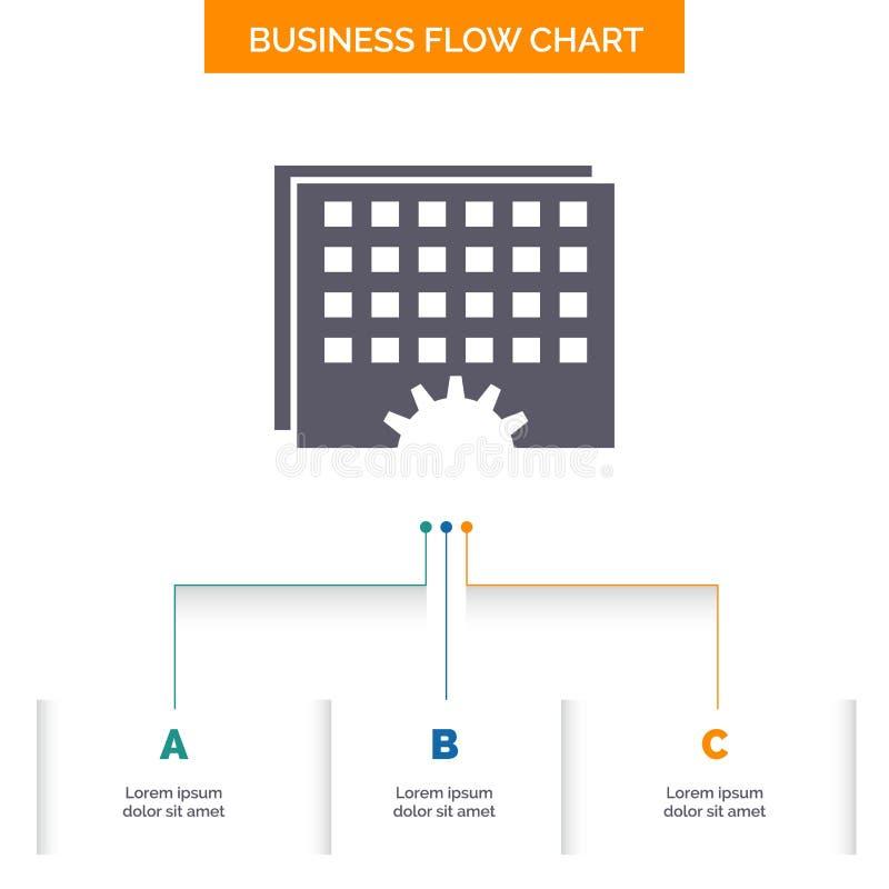 事件,管理,处理,日程表,时间企业与3步的流程图设计 r 皇族释放例证