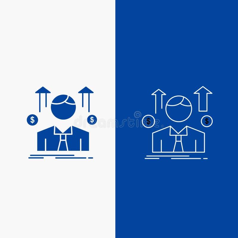 事务、人、具体化、雇员,销售人线和纵的沟纹网按钮在蓝色垂直的横幅UI和UX的,网站或 库存例证