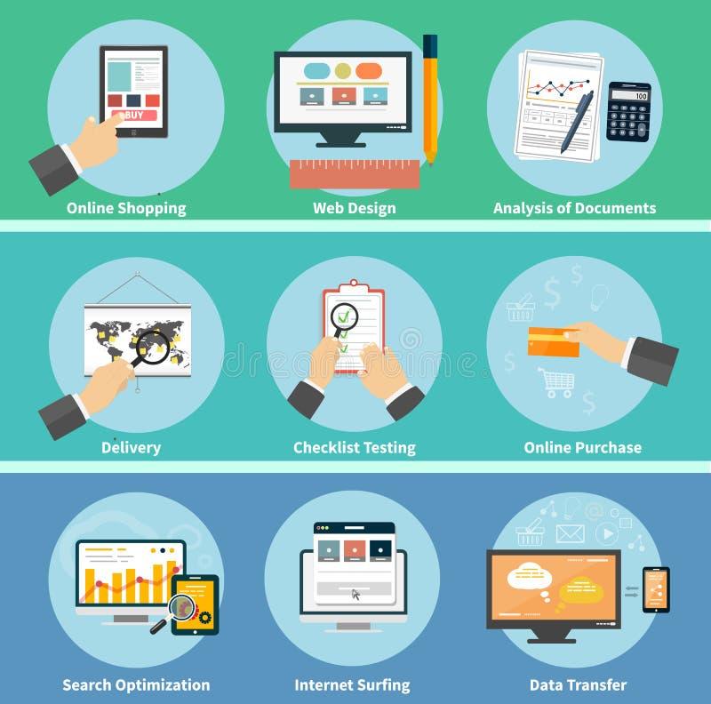 事务、办公室和营销项目象 库存例证