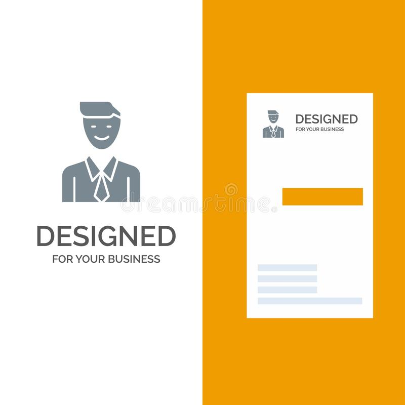 事务、执行委员、工作、人、选择灰色商标设计和名片模板 皇族释放例证