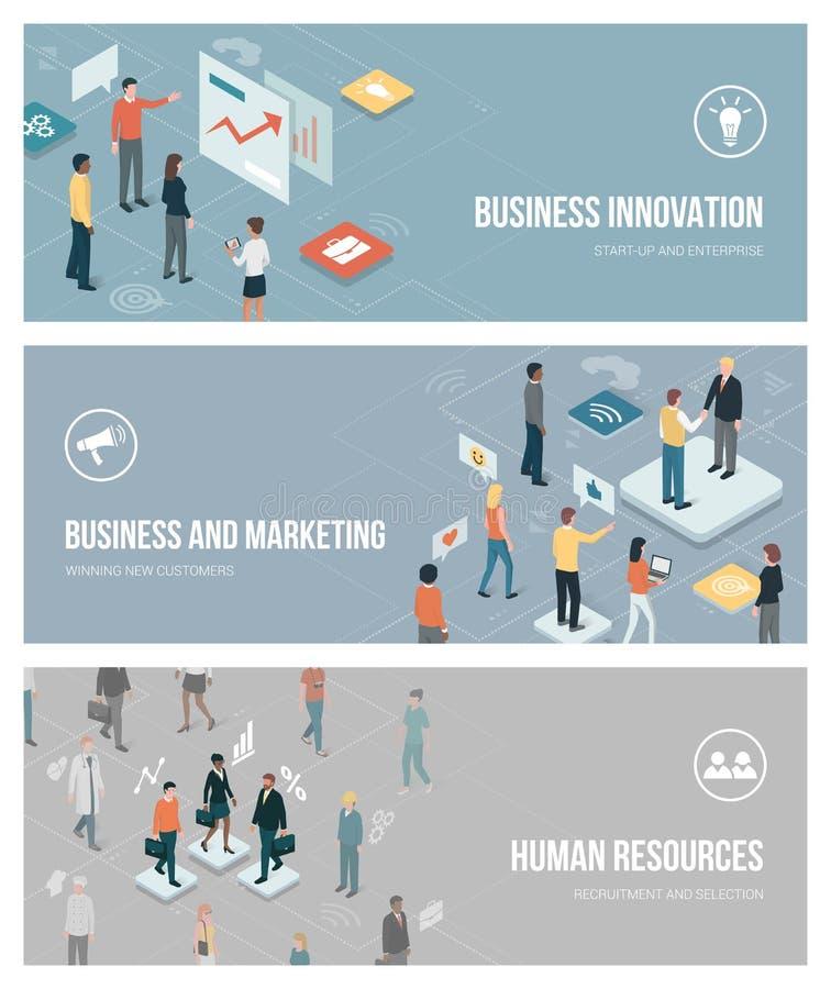事务、营销和人力资源 向量例证