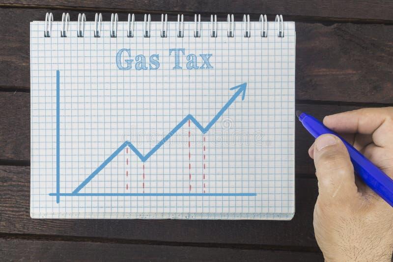 事务、财务、投资、挽救和现金概念-商人增长的汽油税图画图表在笔记薄的 库存图片