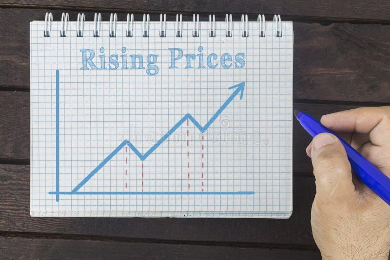 事务、财务、投资、挽救和现金概念-商人涨价图画图表在笔记薄的 免版税库存照片