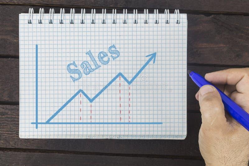 事务、财务、投资、挽救和现金概念-商人销售图画图表  免版税库存图片