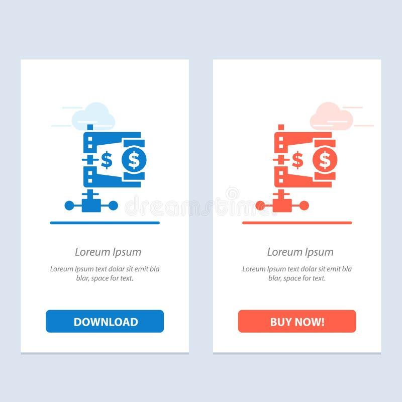 事务、财务、收入、市场、改革蓝色和红色下载和现在买网装饰物卡片模板 库存例证