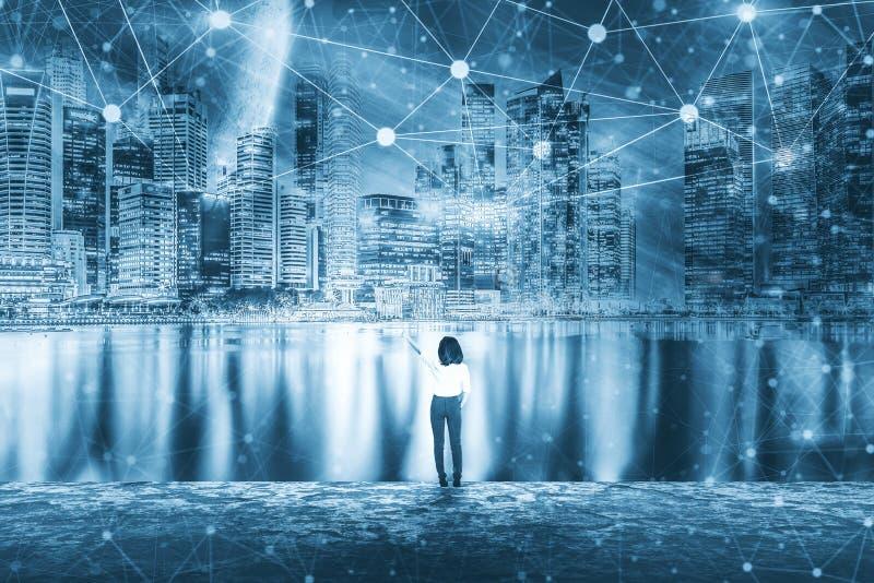 事务、通信、技术和人概念Businesswom 图库摄影