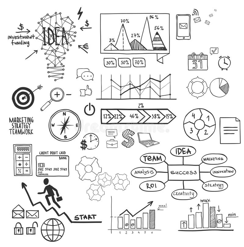 事务、财务元素和象,乱画手拉的剪影 向量例证