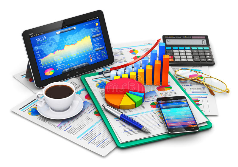 事务、财务和会计概念 皇族释放例证