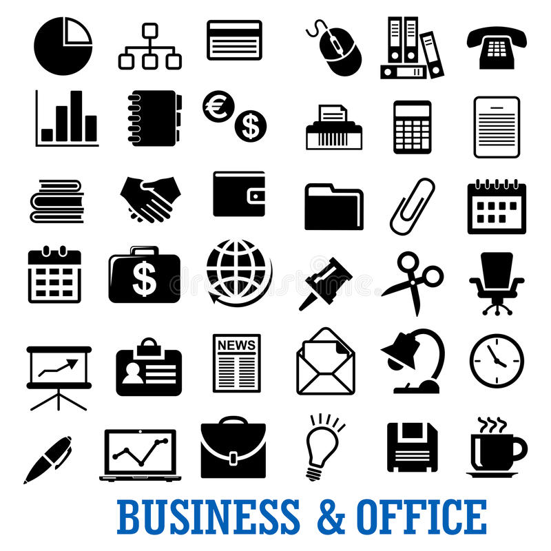 事务、财务和被设置的办公室平的象 向量例证