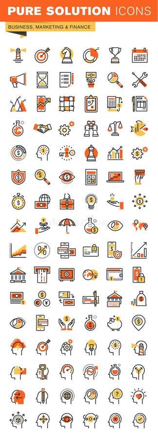 事务、财务和销售的稀薄的线平的设计网象收藏 向量例证