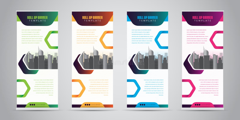 事务卷起与4各种各样的颜色的横幅 站着看的人设计 横幅模板 也corel凹道例证向量 库存例证