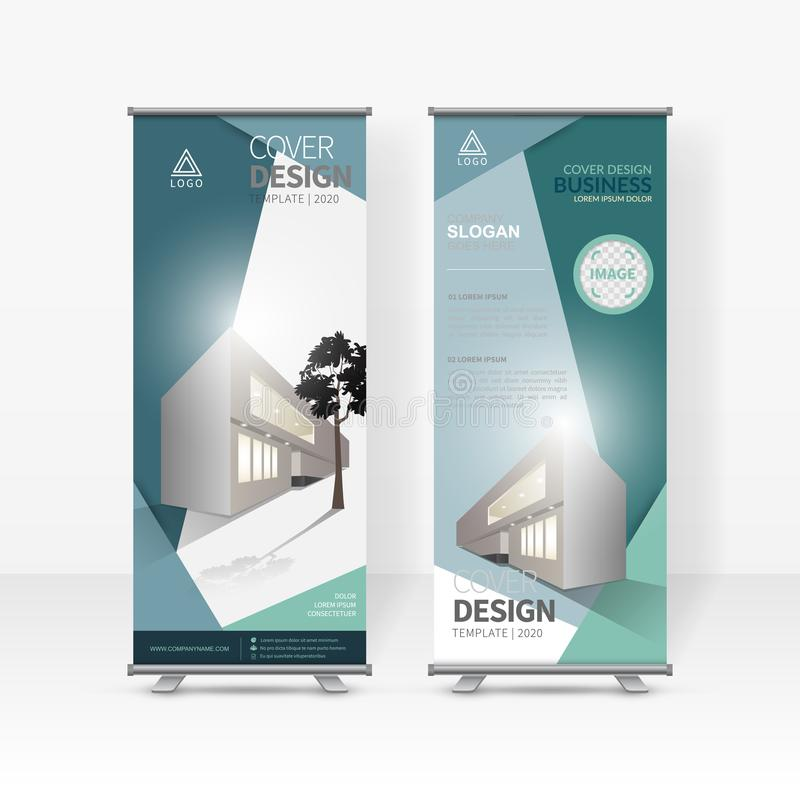 事务卷起设计模板,X立场,垂直的旗子横幅设计版面,站着看的人显示促进 库存例证