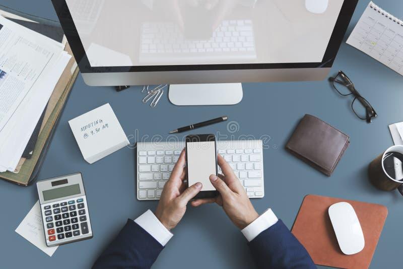 事务反对办公室工作区书桌概念 库存图片