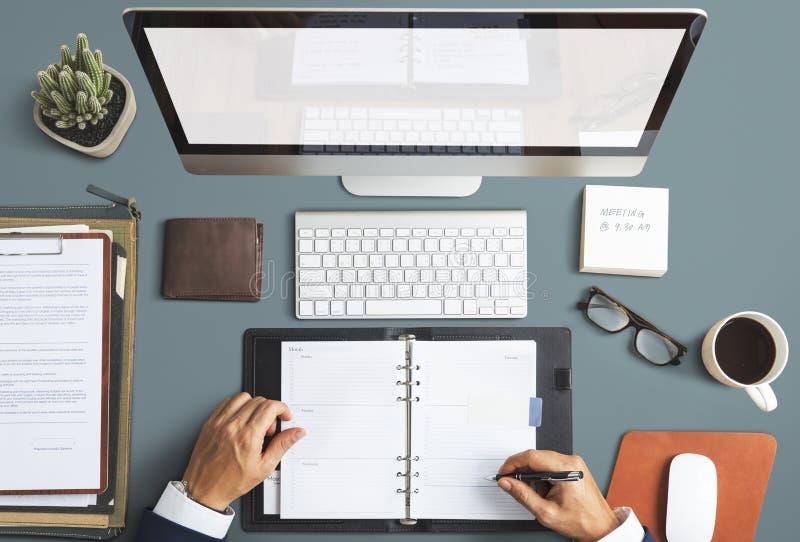 事务反对办公室工作区书桌概念 免版税库存照片