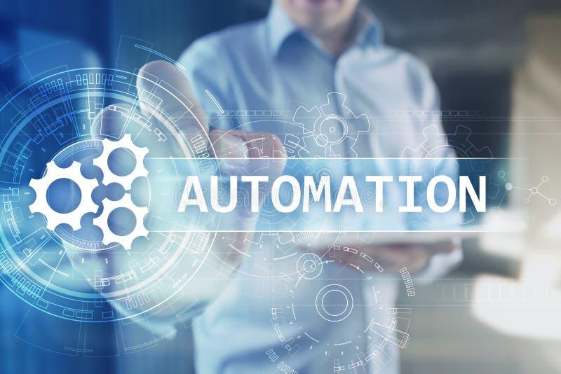 事务和制造过程自动化、聪明的产业、创新和现代技术概念 向量例证