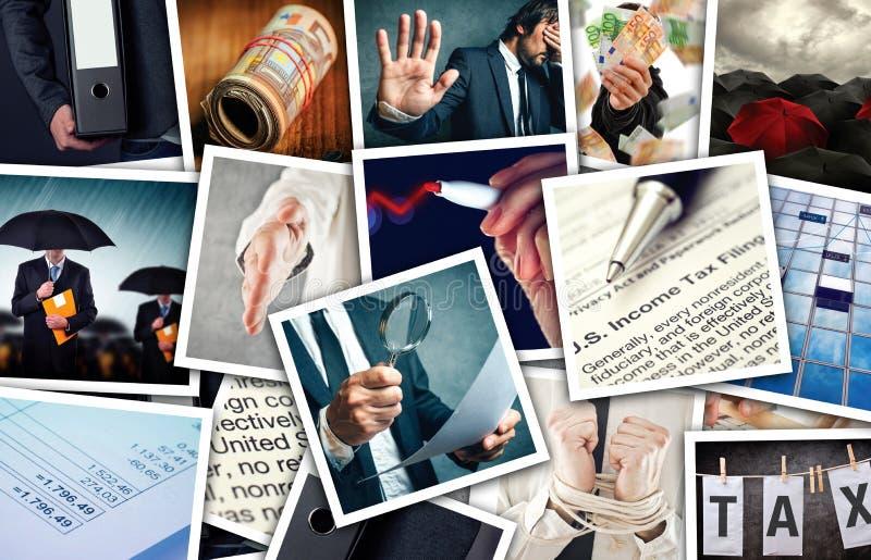 事务和所得税照片拼贴画 免版税库存照片