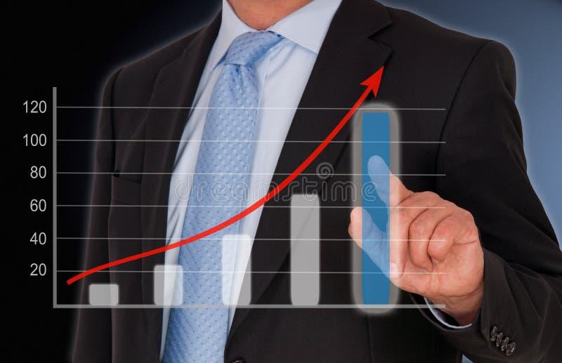 事务和销售业绩举起图 免版税图库摄影
