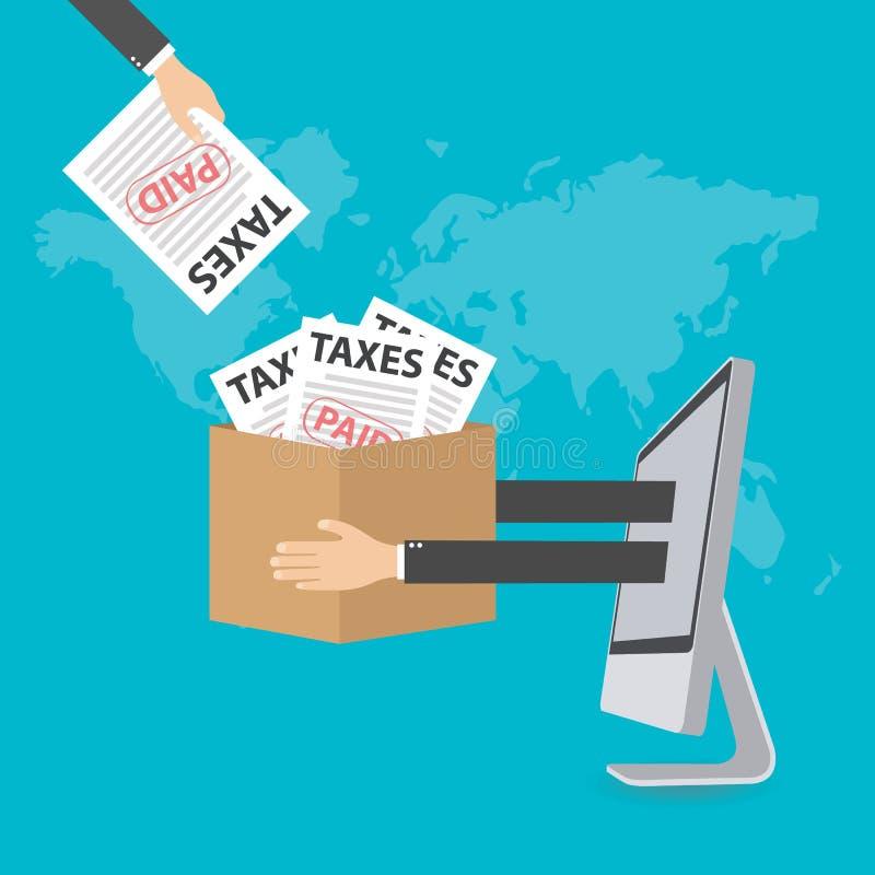 事务和财务的平的设计观念 财务的概念,税,传染媒介例证 库存例证