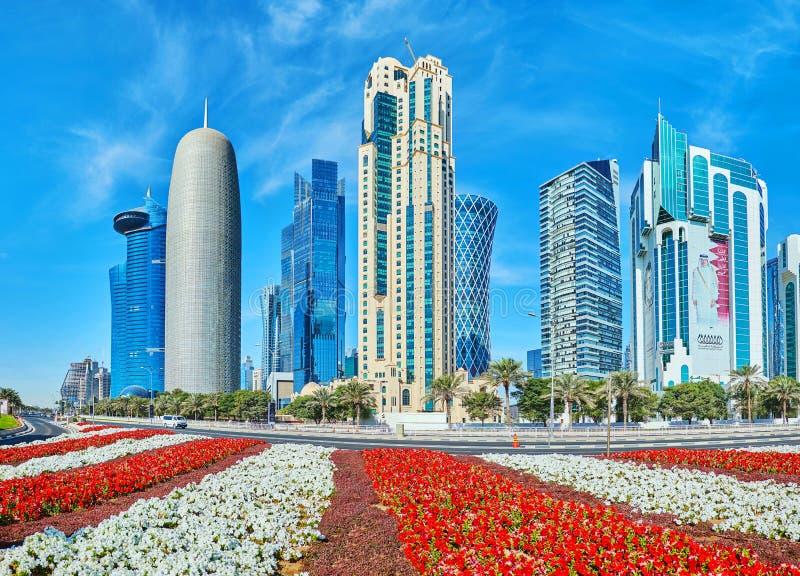 事务多哈,卡塔尔都市风景  免版税库存照片