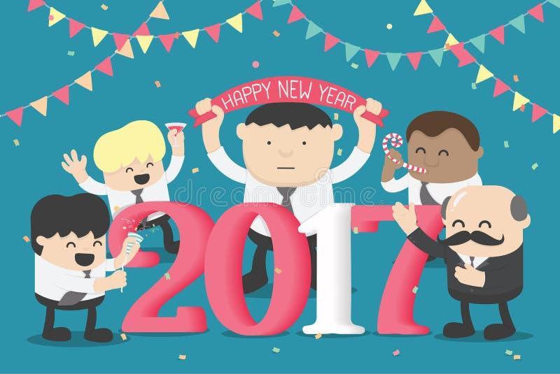 事务庆祝新年愉快的第的小组2017年 皇族释放例证