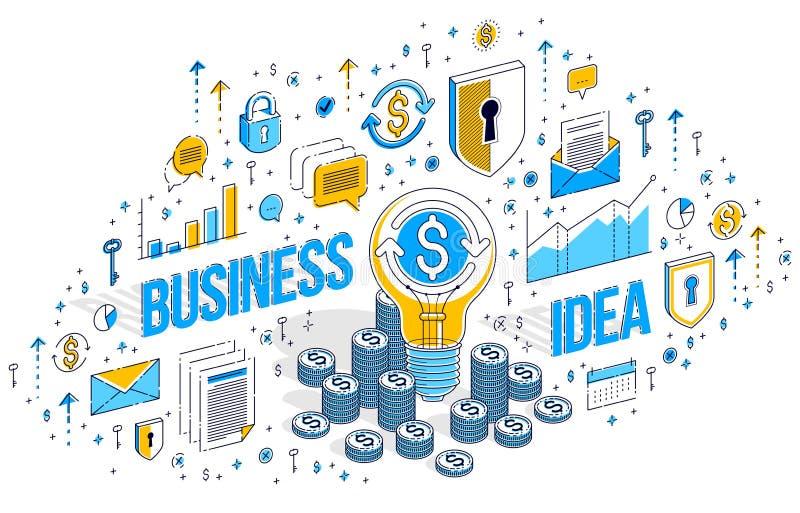 事务开始想法概念,与现金金钱堆的电灯泡 向量例证