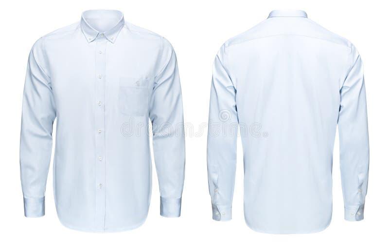 事务或经典蓝色衬衣,前面和后面看法,隔绝了与裁减路线的白色背景 免版税库存图片
