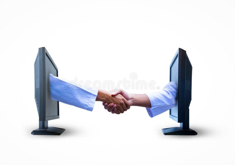 事务握手从两个屏幕的在白色背景 免版税图库摄影