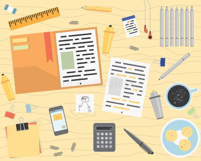 事务桌面平的样式 向量例证