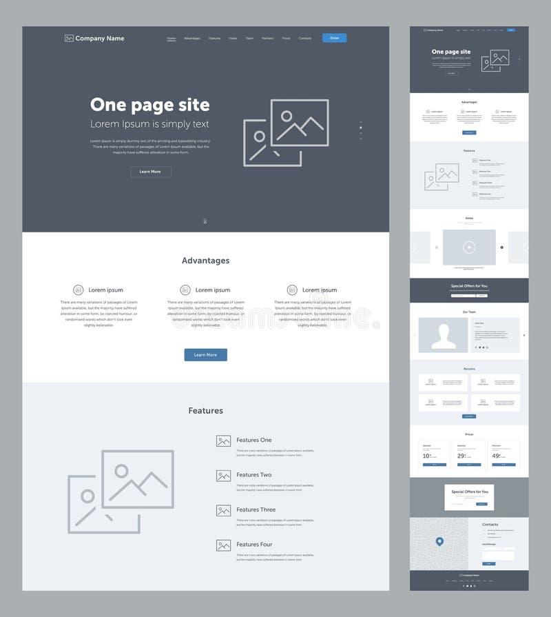 事务的一块页网站设计模板 着陆页Wireframe 平的现代敏感设计 向量例证