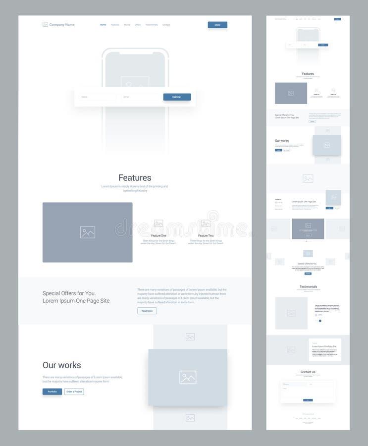 事务的一块页网站设计模板 着陆页Wireframe 平的现代敏感设计 皇族释放例证