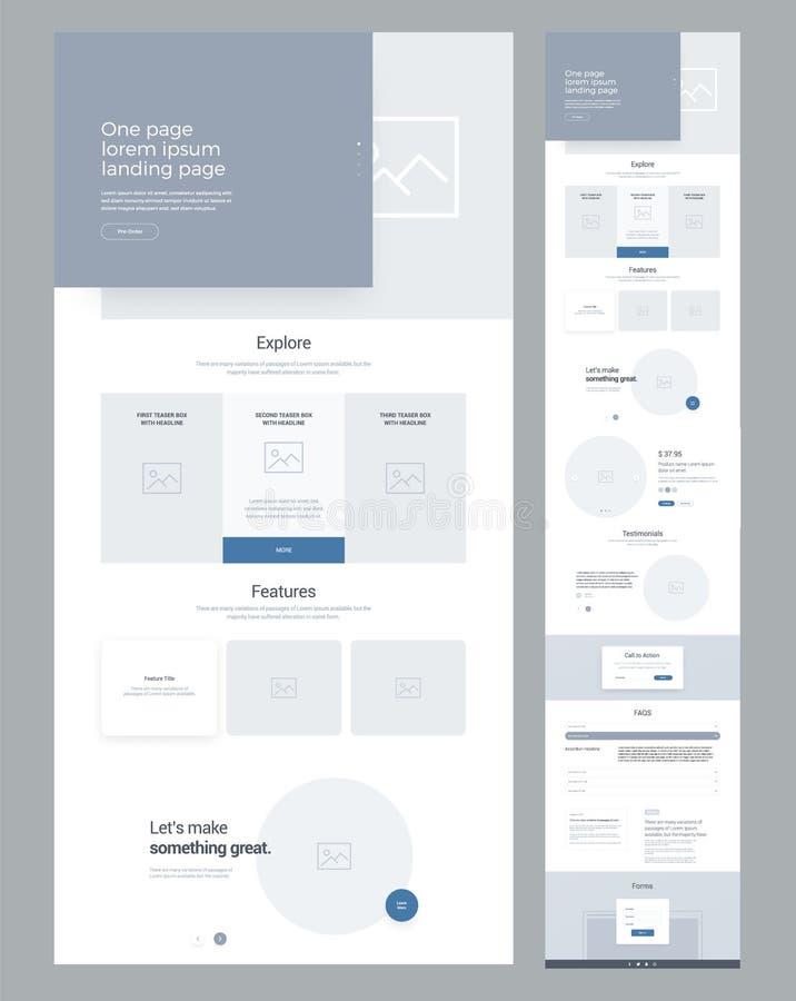 事务的一块页网站设计模板 着陆页Wireframe 现代敏感设计 Ux ui网站 向量例证