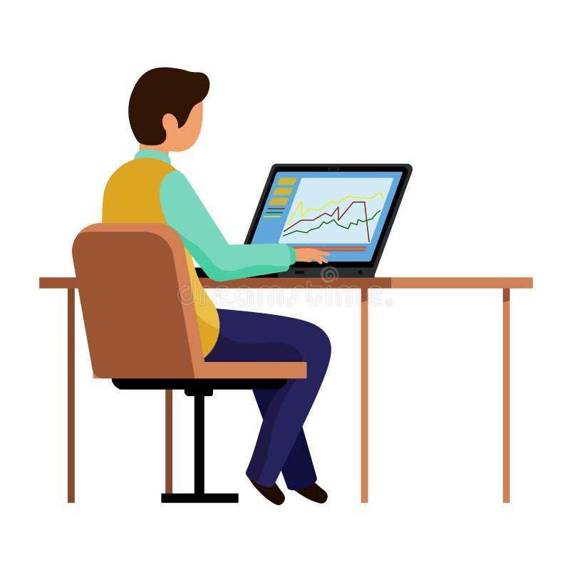 事务的人在计算机 坐在桌上和键入在膝上型计算机的一个人 向量例证