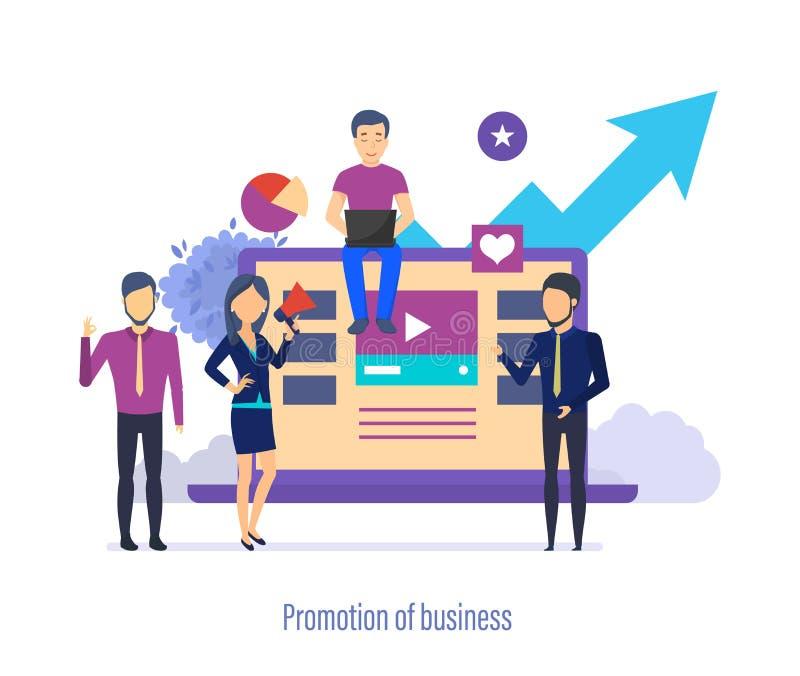 事务的促进 瞄准广告,媒介市场研究,企业逻辑分析方法 向量例证