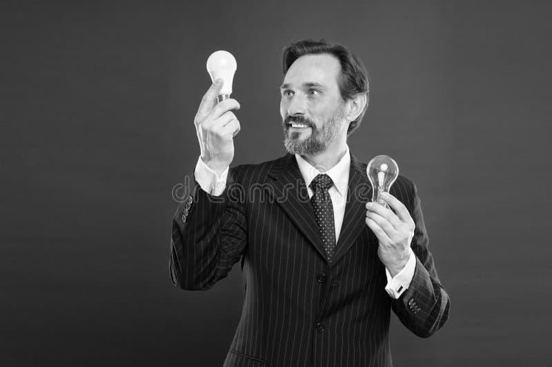 事务的想法 不伤环境的想法 天才想法 打开您的事务 人有胡子的商人正装 库存照片