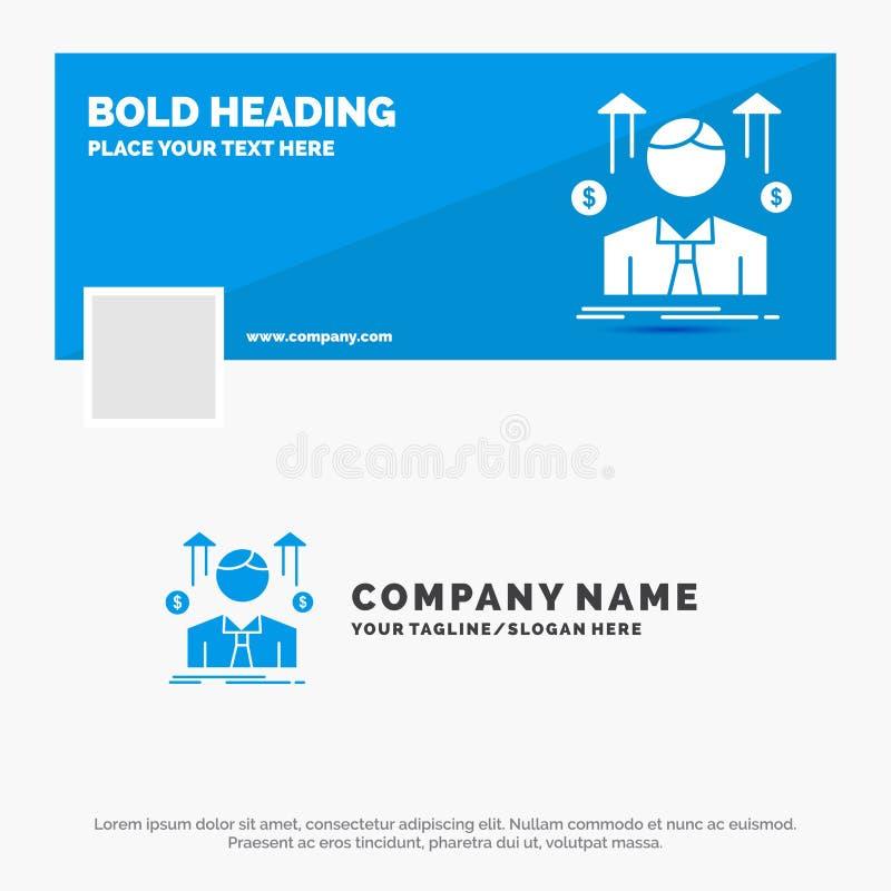 事务的蓝色企业商标模板,人,具体化,雇员,销售人 r r 皇族释放例证