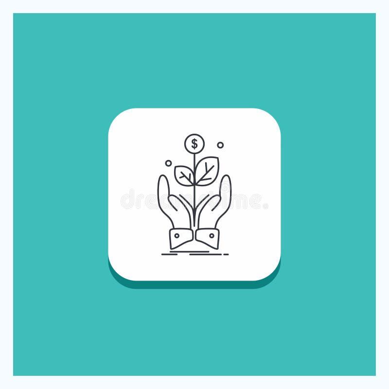 事务的,公司,成长,植物,上升线象绿松石背景圆的按钮 库存例证