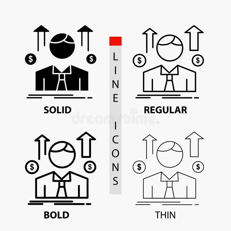 事务,人,具体化,雇员,销售在稀薄,规则,大胆的线和纵的沟纹样式的人象 r 库存例证