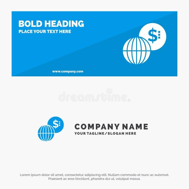事务,全球性,市场、现代坚实象网站横幅和企业商标模板 皇族释放例证