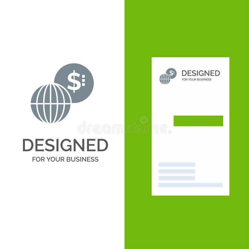 事务,全球性,市场、现代灰色商标设计和名片模板 皇族释放例证