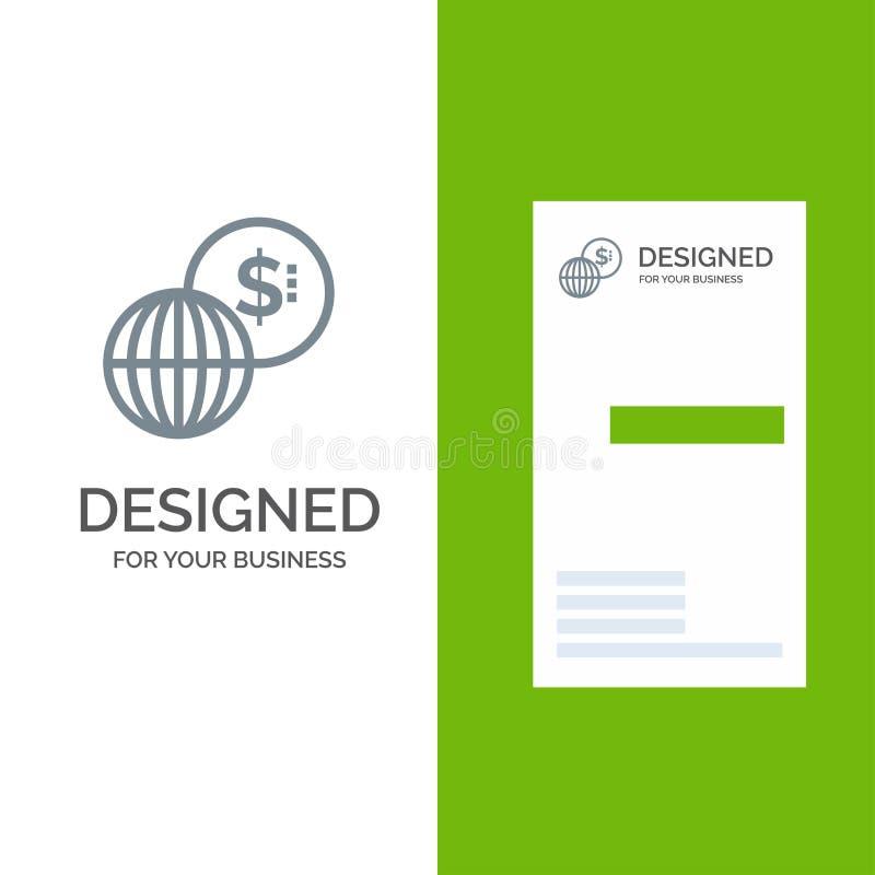 事务,全球性,市场、现代灰色商标设计和名片模板 库存例证