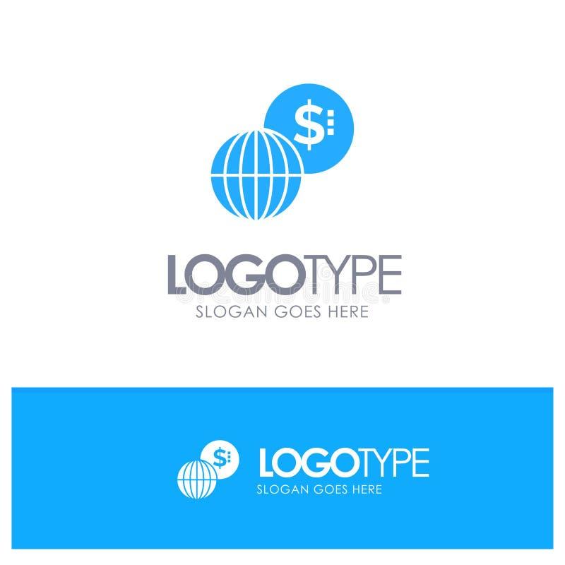 事务,全球性,市场,与地方的现代蓝色坚实商标口号的 向量例证