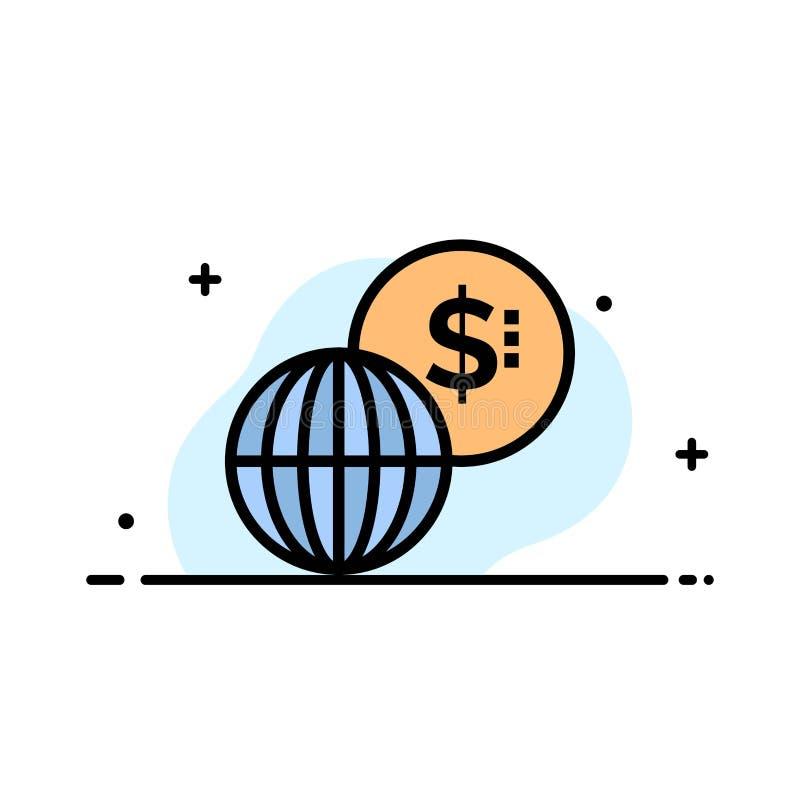 事务,全球性,市场,现代企业平的线填装了象传染媒介横幅模板 库存例证