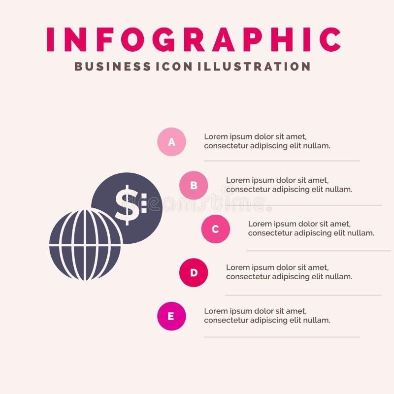 事务,全球性,市场,现代坚实象Infographics 5步介绍背景 向量例证
