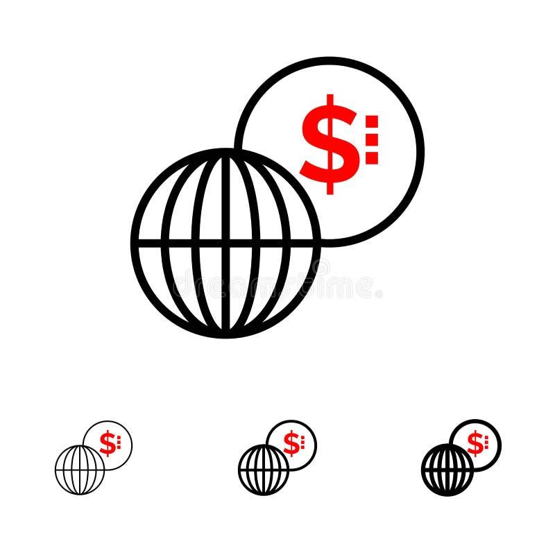 事务,全球性,市场,现代大胆和稀薄的黑线象集合 库存例证