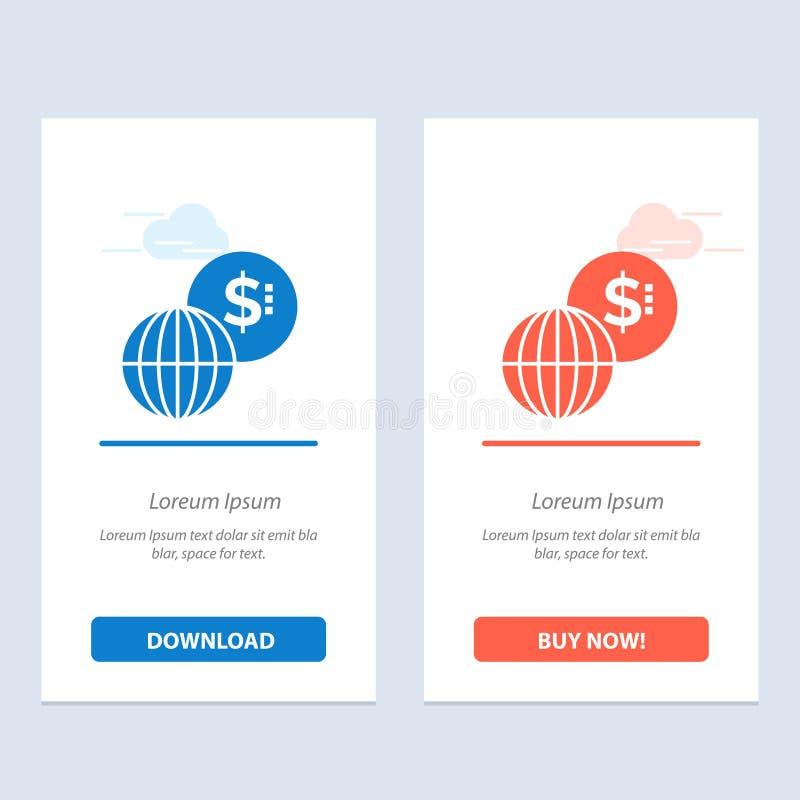 事务,全球性,市场,现代蓝色和红色下载和现在买网装饰物卡片模板 库存例证