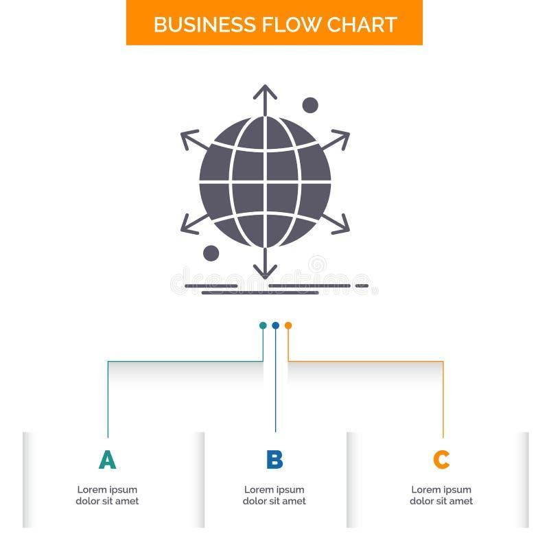 事务,国际,净,网络,网企业与3步的流程图设计 r 库存例证