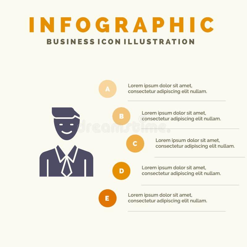 事务,执行委员,工作,人,选择坚实象Infographics 5步介绍背景 库存例证