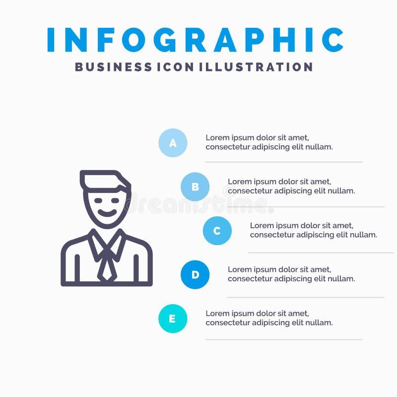 事务,执行委员,工作,人,选择线象有5步介绍infographics背景 皇族释放例证